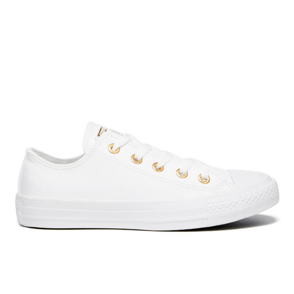 9feebc2cc5ffa5 Converse Women s Chuck Taylor All Star Ox Trainers - White Gold  Image 1