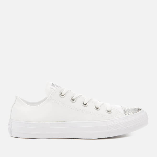 ef169b8e5486 Converse Women s Chuck Taylor All Star Ox Trainers - White Silver  Image 1