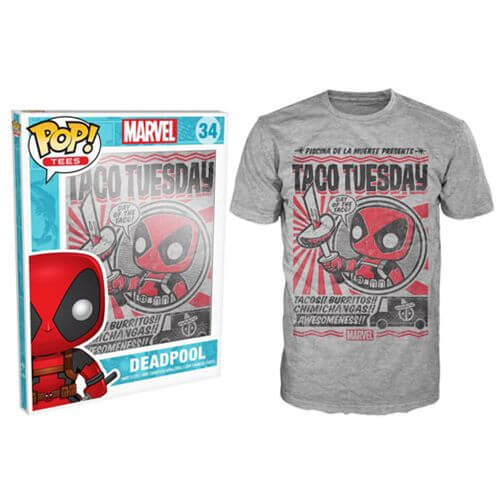 Funko XXL-Marvel Deadpool Pop! Tee Taco Tuesday Pop! Tees