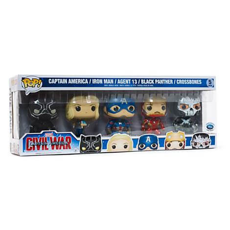 Funko Captain America/Iron Man/Agent 13/Black Panther/Crossbones Pop! Vinyl