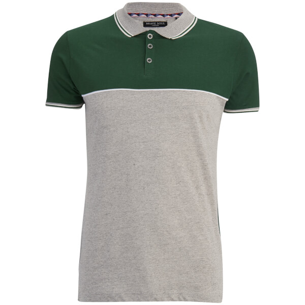 Brave Soul Men's Lorenzo Panel Polo Shirt - Light Grey/Green