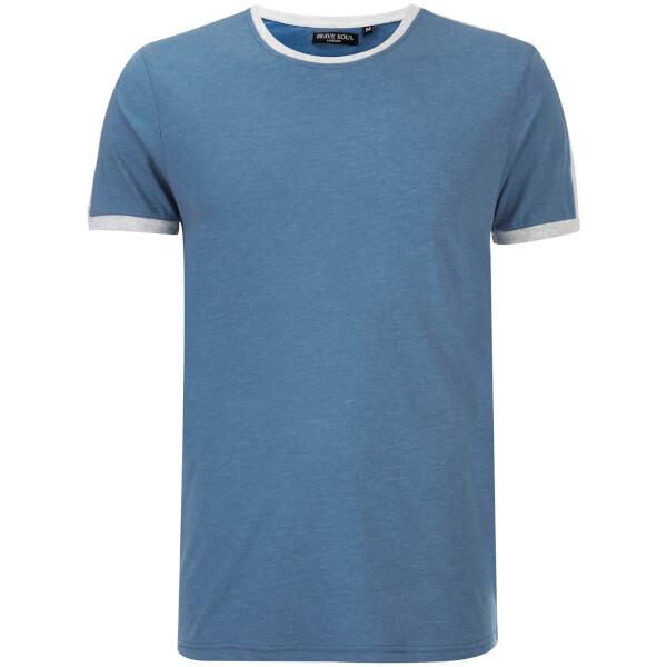 Brave Soul Men's Pete Shoulder Panel T-Shirt - Vintage Blue Marl/Ecru Marl