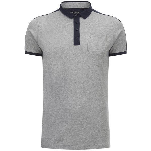 Brave Soul Men's Mozi Jersey Polo Shirt - Light Grey Marl/Navy