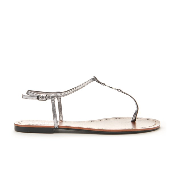 4e2ba322211a Lauren Ralph Lauren Women s Aimon T-Bar Croc Flat Sandals - New Silver