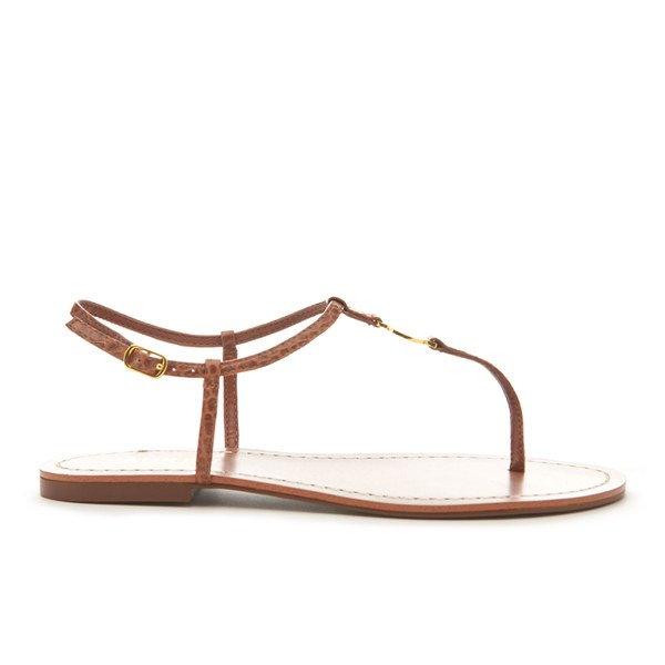 eab563852d6 Lauren Ralph Lauren Women s Aimon T-Bar Croc Flat Sandals - Polo Tan  Image