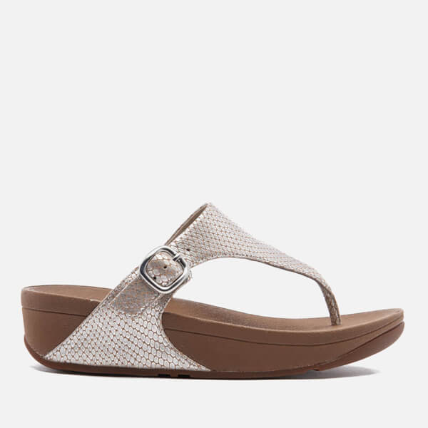 624e28cb83f3 FitFlop Women s The Skinny Leather Toe-Post Sandals - Silver Snake  Image 1