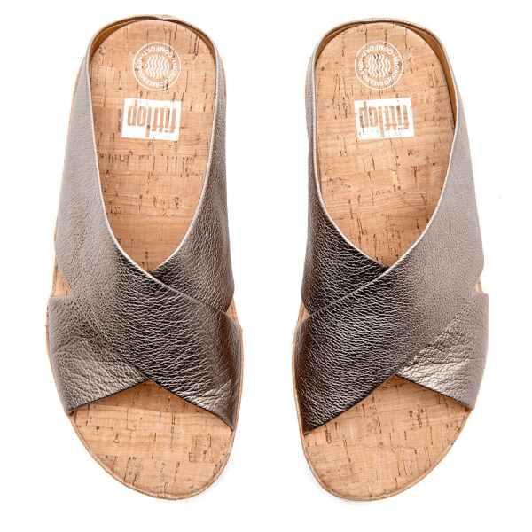 804b83053a3ab FitFlop Women s Kys Leather Slide Sandals - Bronze  Image 3
