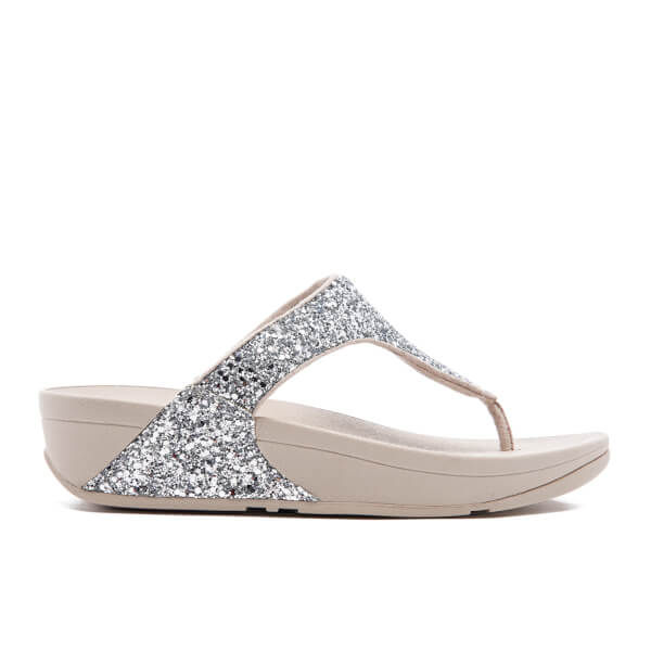 858c33afd2c FitFlop Women s Glitterball Toe-Post Sandals - Silver  Image 1