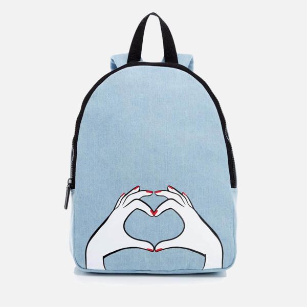 Lulu Guinness Women's Heart Hands Large Denim Backpack - Denim