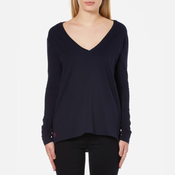 Polo Ralph Lauren Women's Long Sleeve V Neck T-Shirt - Hunter Navy: Image