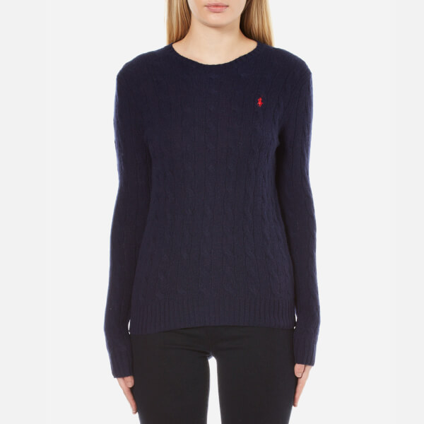 Polo Ralph Lauren Women's Julianna Crew Neck Jumper Cashmere Blend - Hunter Navy
