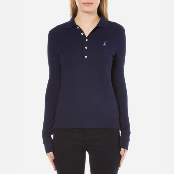 Polo Ralph Lauren Women s Long Sleeve Julie Polo Shirt - Cruise Navy  Image  1 94fd48ae2980
