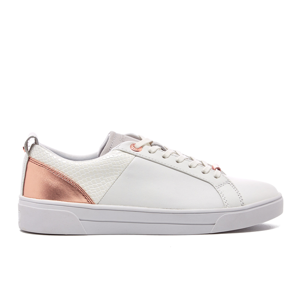 36187301f88ee6 Ted Baker Women s Kulei Leather Cupsole Trainers - White Rose Gold  Image 1