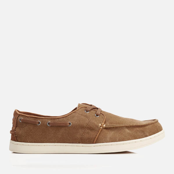 TOMS Men's Culver Linen Boat Shoes - Toffee Washed Canvas