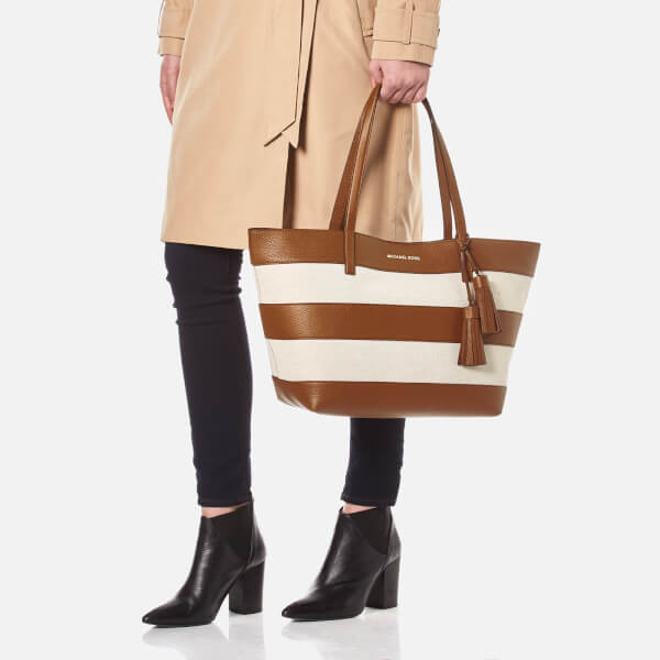 f539f2944a36 MICHAEL MICHAEL KORS Women's Striped Canvas Large East West Tote Bag -  Natural/Acorn: