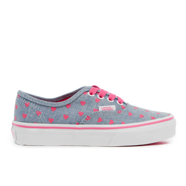 Vans Kids' Authentic Chambray Hearts Trainers - Blue/True White