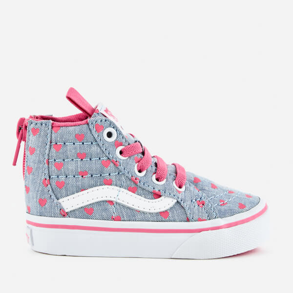 Vans Toddlers' Sk8-Hi Zip Chambray Heart Hi-Top Trainers - Blue/True White