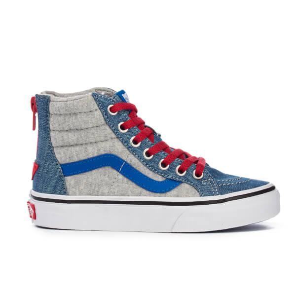 Vans Kids' Sk8-Hi Zip Jersey/Denim Hi-Top Trainers - Imperial Blue/True White