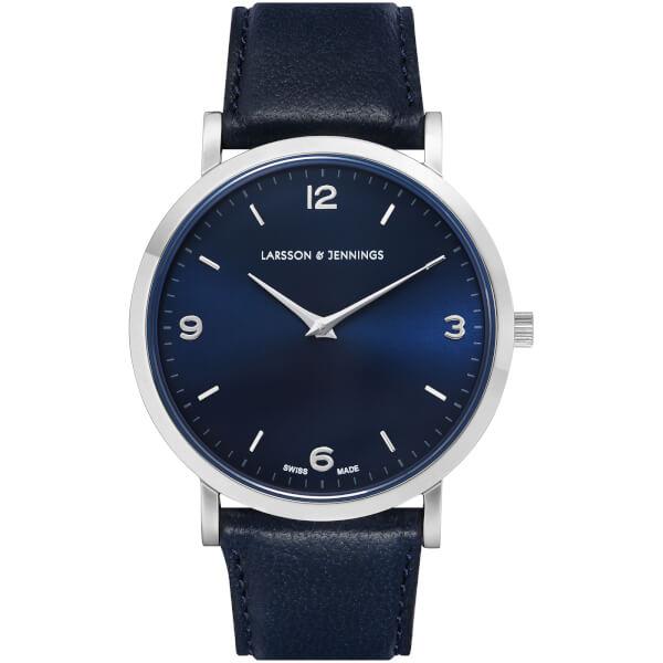 Larsson & Jennings Lugano 38mm Leather Watch - Silver/Navy/Navy