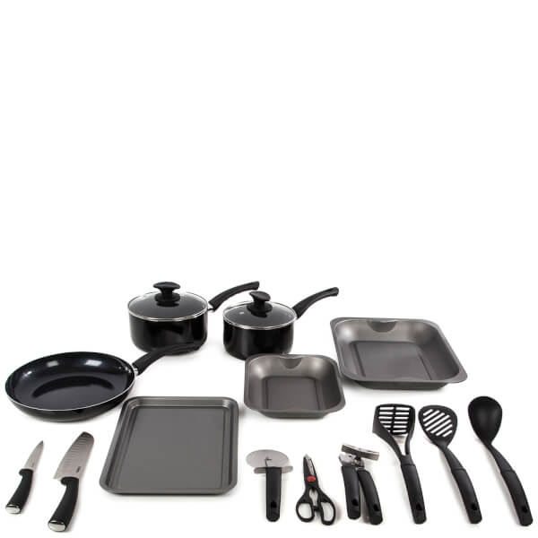 Tower 14 piece aluminium kitchen starter set black iwoot for Kitchen set aluminium royal