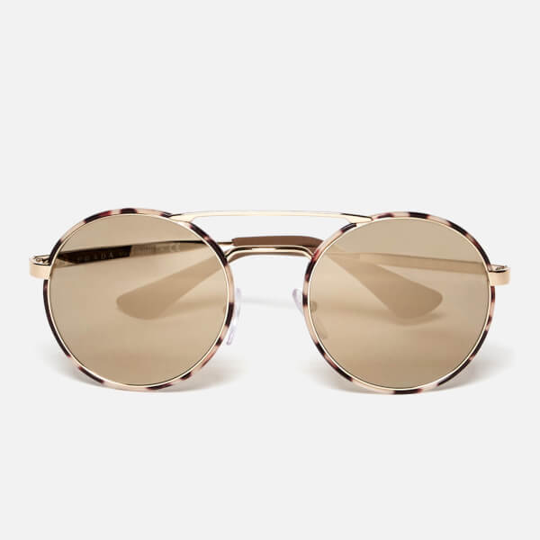 5bc8cd77a26 ... get prada womens catwalk round tortoise sunglasses mirror gold 6f9b1  8fd7b ...