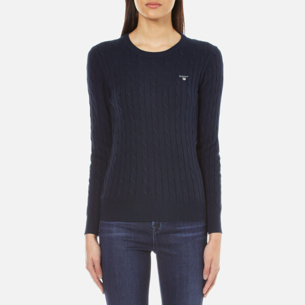 GANT Women s Stretch Cotton Cable Crew Jumper - Evening Blue  Image 1 f66d41676525
