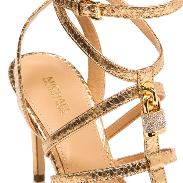 f011e1cf540e Buy michael kors gold strappy heels   OFF40% Discounted
