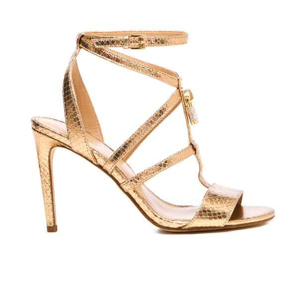 MICHAEL MICHAEL KORS Women's Antoinette Leather Metallic Heeled Sandals - Pale Gold