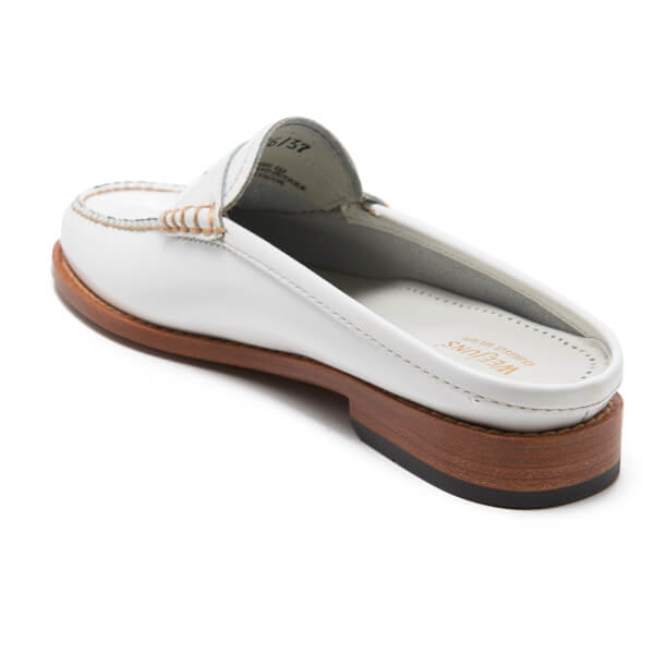 Bass Weejuns Women's Penny Slide Leather Loafers - White ...