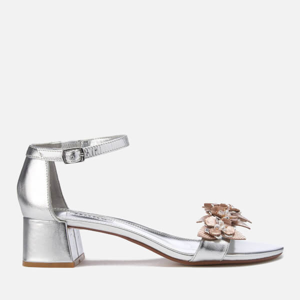 Dune Women's Mae Leather Blocked Heeled Sandals - Silver
