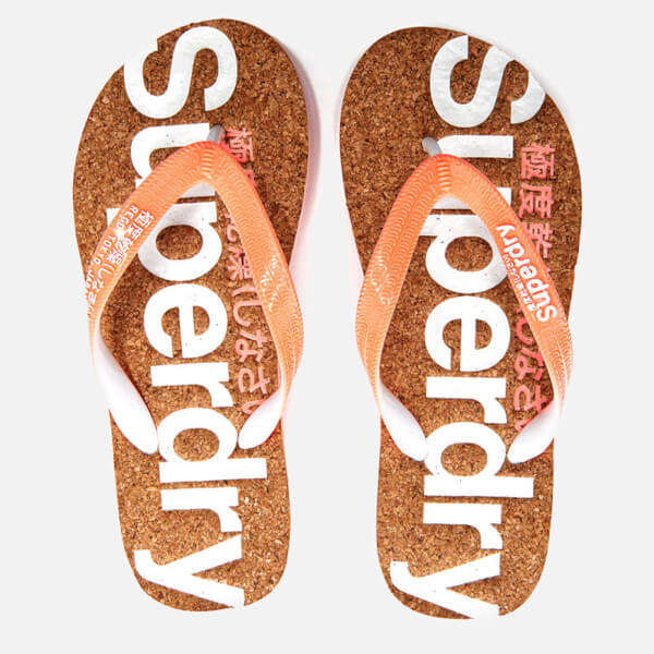 Superdry Women's Cork Colour Pop Flip Flops - Fluro Orange/Optic