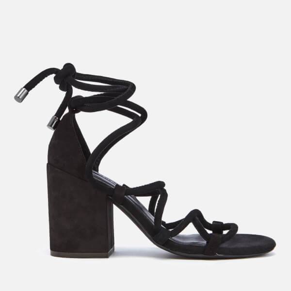 SENSO Women's Wyatt Suede Lace Up Blocked Heeled Sandals - Ebony - UK 3 BOaogYYZOT
