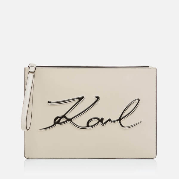 Karl Lagerfeld Women's K/Metal Signature Pouch - Beige