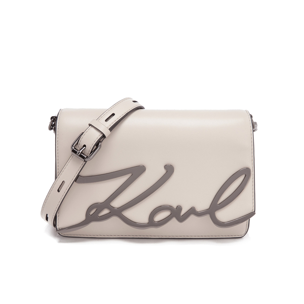 Karl Lagerfeld Women s K Metal Signature Shoulder Bag - Travertine  Image 1 0272036cd882b