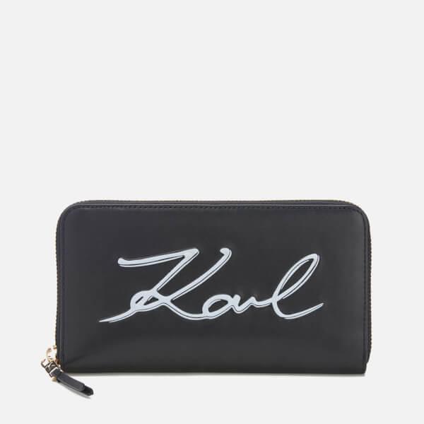 Karl Lagerfeld Women's K/Metal Signature Zip Wallet - Black: Image 1