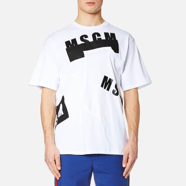 MSGM Men's Print Detail Long T-Shirt - White
