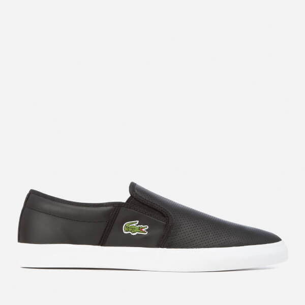 Lacoste Men's Gazon BL 1 Perforated Leather Slip-On Trainers - Black