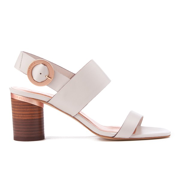 55f9f4f0658 Ted Baker Women s Azmara Leather Block Heeled Sandals - Light Grey  Image 1