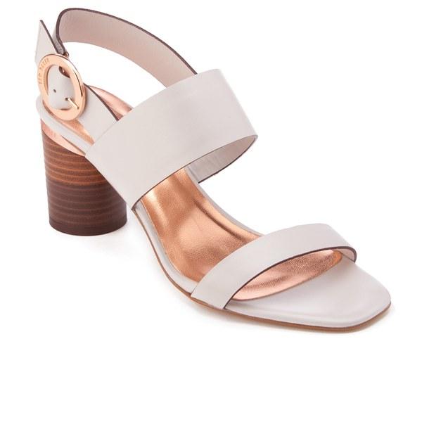 898e52cfa4cd7 Ted Baker Women s Azmara Leather Block Heeled Sandals - Light Grey  Image 2