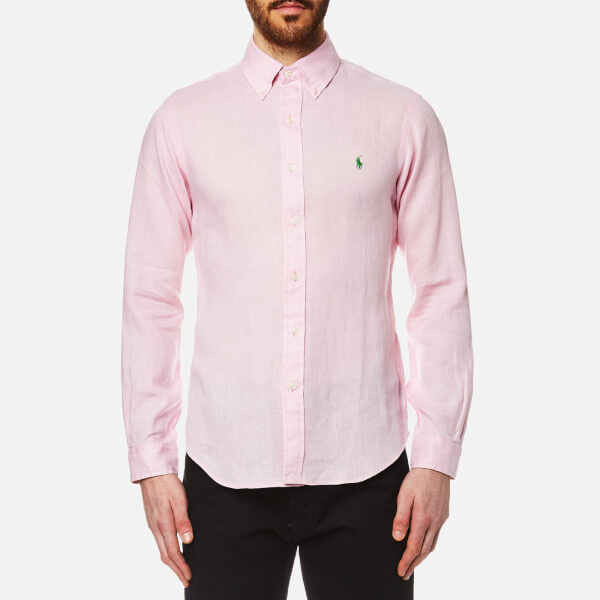 Polo Ralph Lauren Men's Linen Long Sleeve Slim Fit Shirt - Pink: Image 1