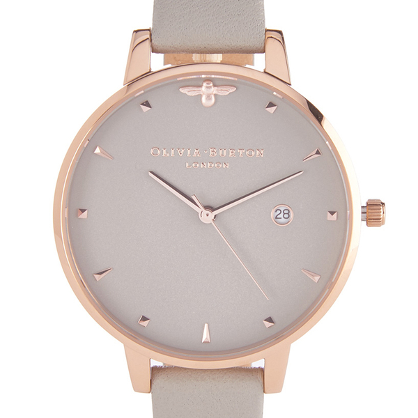 Olivia Burton Women s Mini Moulded Bee Watch - Grey Rose Gold  Image 3 a0f7f6592d