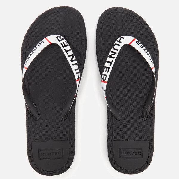 Hunter Men's Original Exploded Logo Flip Flops - Black