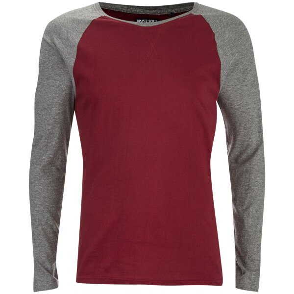 Brave Soul Men's Osbourne Raglan Long Sleeve Top - Burgundy