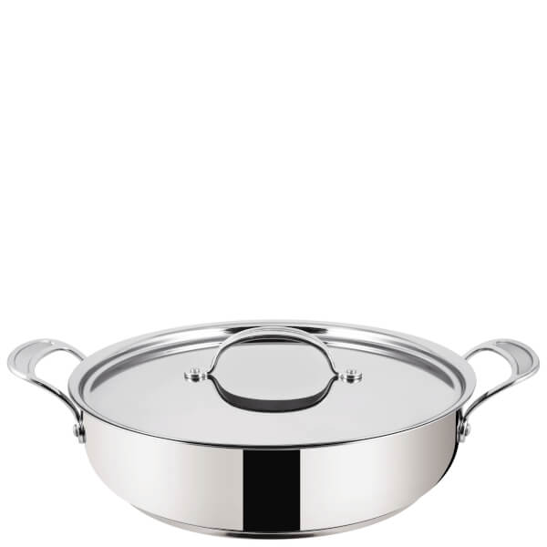 jamie oliver by tefal h8039944 stainless steel non stick shallow pan with lid 30cm homeware. Black Bedroom Furniture Sets. Home Design Ideas