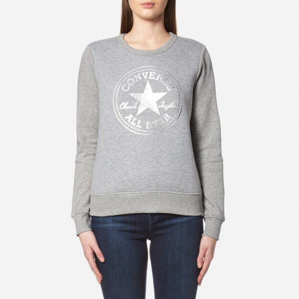 Converse Women s Metallic Chuck Patch Sweatshirt - Vintage Grey Heather   Image 1 6e91c843fb955