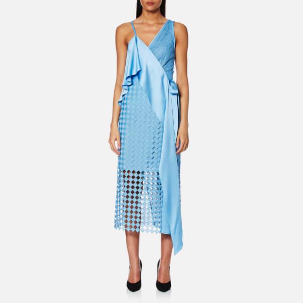 Diane von Furstenberg Asymmetric Sleeveless Lace Wrap Dress (now $396)