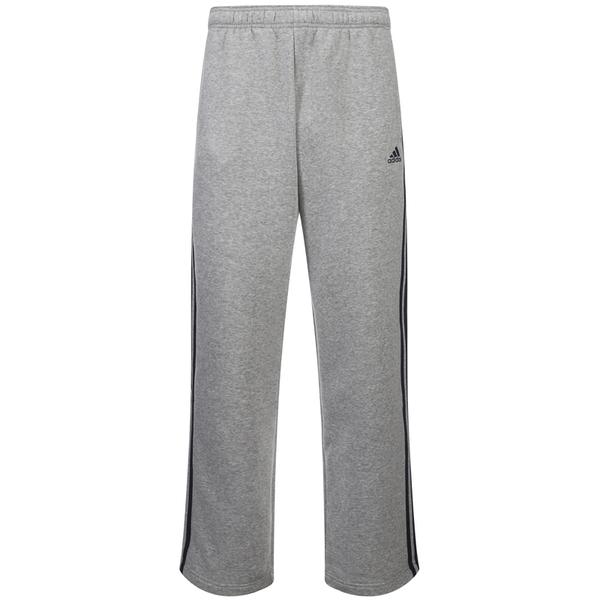 adidas Men's Essential 3 Stripe Fleece Sweatpants - Grey Marl