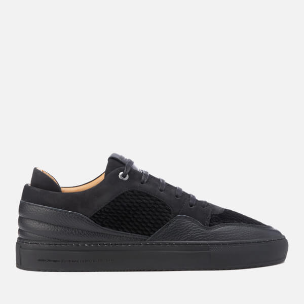 Android Homme Men's Omega Quilted Velvet Low Top Trainers - Black: Image 1