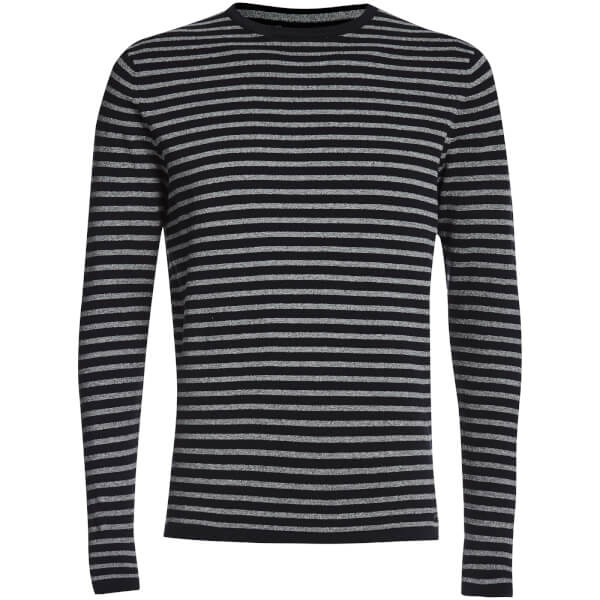 Threadbare Men's Carina Stripe Crew Neck Jumper - Navy