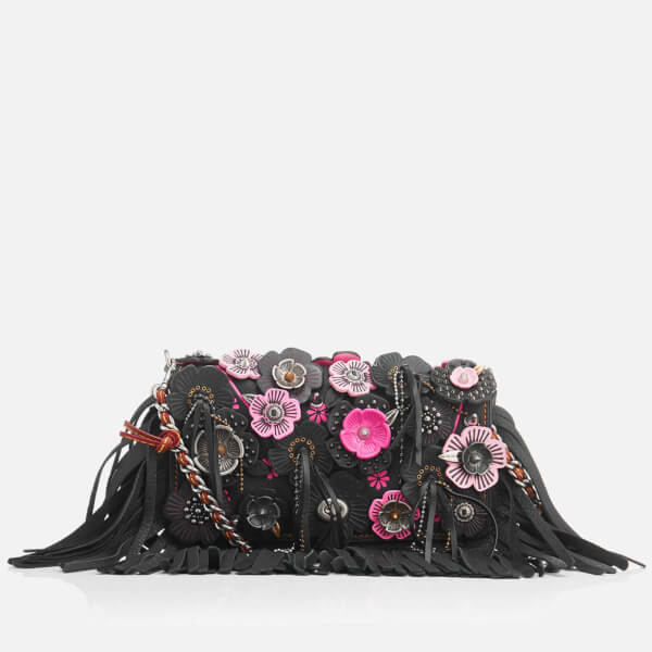 Coach Women's Wild Tea Rose Fringe Dinky Cross Body Bag - Black/Pink